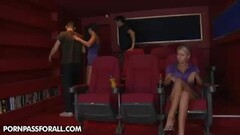 Jacline and Sasha Cane fingering at the cinems Thumb