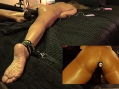 Babe getting jizzcovered in threeway during BDSM and bondage Thumb
